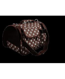 Transportadora pequena impermeável com bolsas - Castanho
