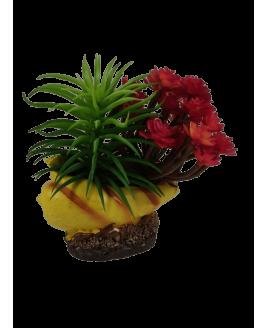Decoração para aquário - Búzio com flores