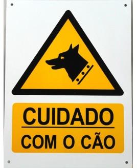 """Sinalização metálica """"Cuidado com o Cão"""""""