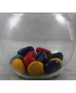 Aquário Globo 5 litros com Pedras Coloridas Grandes